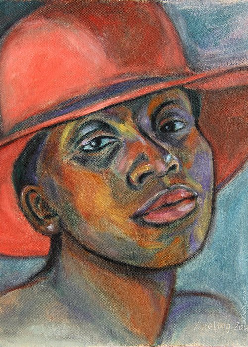 African American Greeting Card featuring the painting Red Hat Lady by Xueling Zou