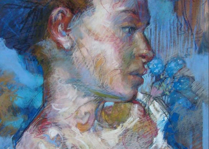 Woman Greeting Card featuring the painting Red-head Study by Tonja Sell