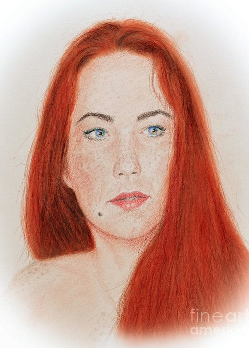 Red Headed Greeting Card featuring the drawing Red Headed Beauty by Jim Fitzpatrick