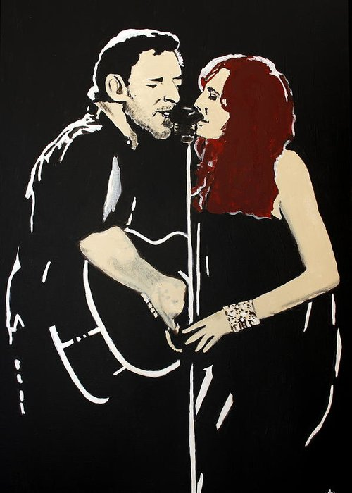 Bruce Springsteen Greeting Card featuring the painting Red Headed Woman by Carmencita Balagtas