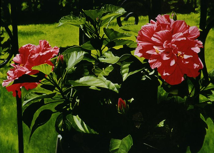 Floral Greeting Card featuring the painting Red Hibiscus by Gary Hernandez
