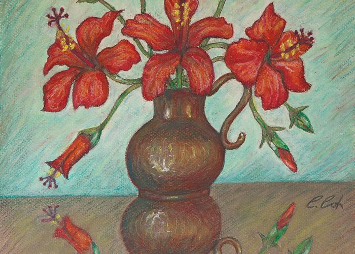 Mother's Day Greeting Card featuring the painting Red Hibiscus With Blue Background by Claudia Cox