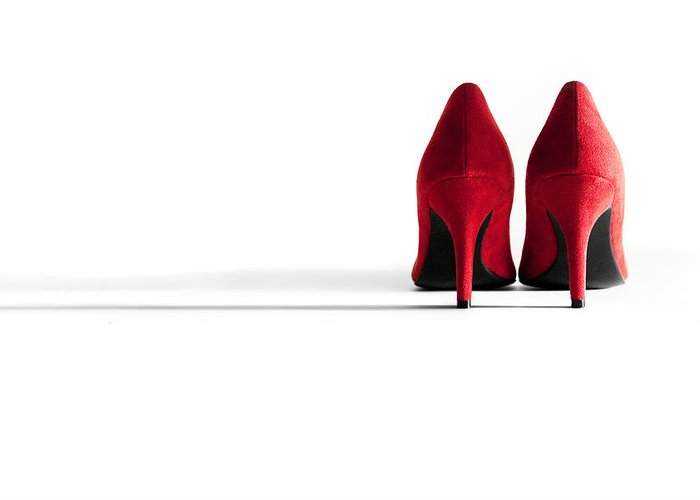 Shoe Greeting Card featuring the photograph Red High Heel Shoes by Natalie Kinnear