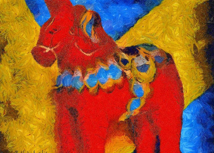 Barbara Snyder Greeting Card featuring the digital art Red Horse by Barbara Snyder