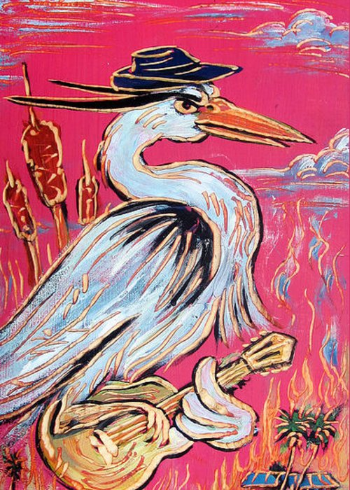 Blues Greeting Card featuring the painting Red Hot Heron Blues by Robert Ponzio