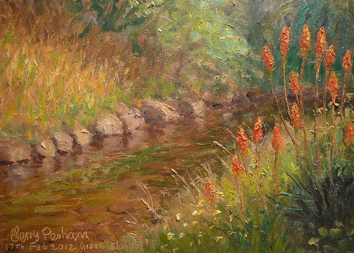 Rivers Greeting Card featuring the painting Red Hot Pokers by Terry Perham