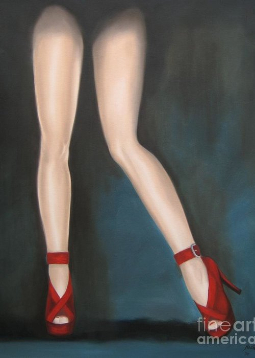 Noewi Greeting Card featuring the painting Red Hot Pumps by Jindra Noewi