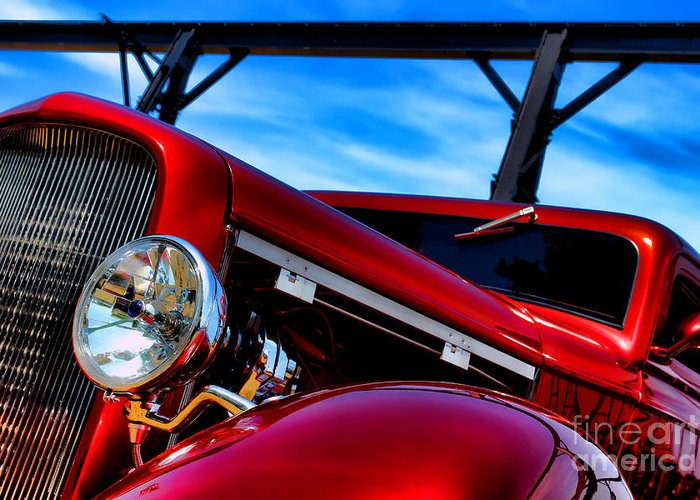 Hotrod Greeting Card featuring the photograph Red Hot Rod by Olivier Le Queinec