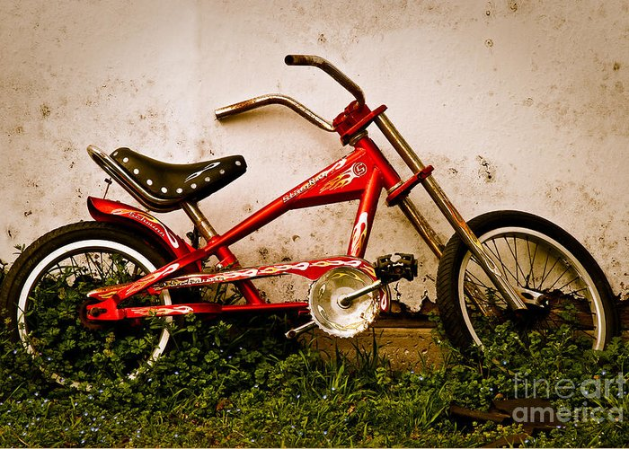 Red Bike Greeting Card featuring the photograph Red Hot Stingray Bike by Sonja Quintero
