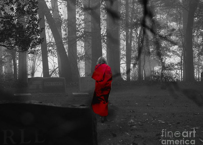 Cemetery Greeting Card featuring the photograph RED by Joseph Perno