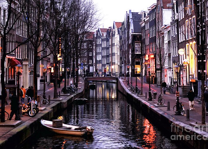 Red Light District Greeting Card featuring the photograph Red Light District by John Rizzuto