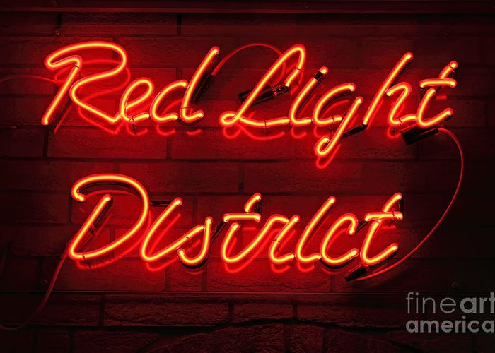 Red Greeting Card featuring the photograph Red Light District by Kiril Stanchev