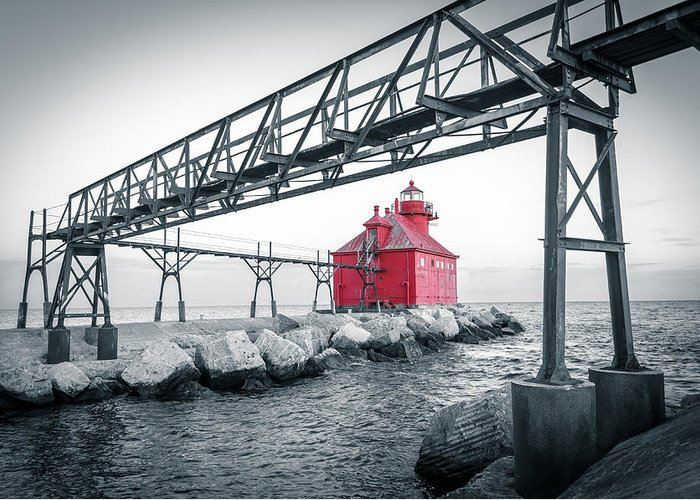 Sturgeon Bay Greeting Card featuring the photograph Red Light On Lake Michigan by Ever-Curious Photography