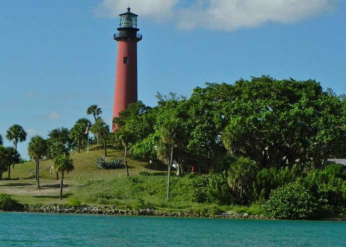 Jupiter Greeting Card featuring the photograph Red Lighthouse by Cynthia N Couch