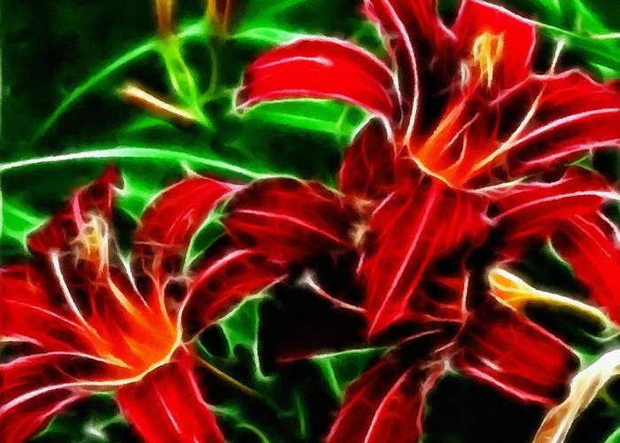Red Lilies Expressive Brushstrokes Greeting Card featuring the photograph Red Lilies Expressive Brushstrokes by Barbara Griffin