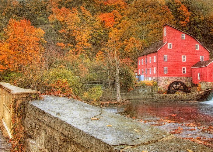 Red Mill Greeting Card featuring the photograph Red Mill With Texture by Pat Abbott
