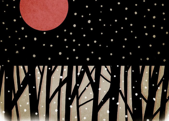 Red Greeting Card featuring the photograph Red Moon And Snow by Carol Leigh