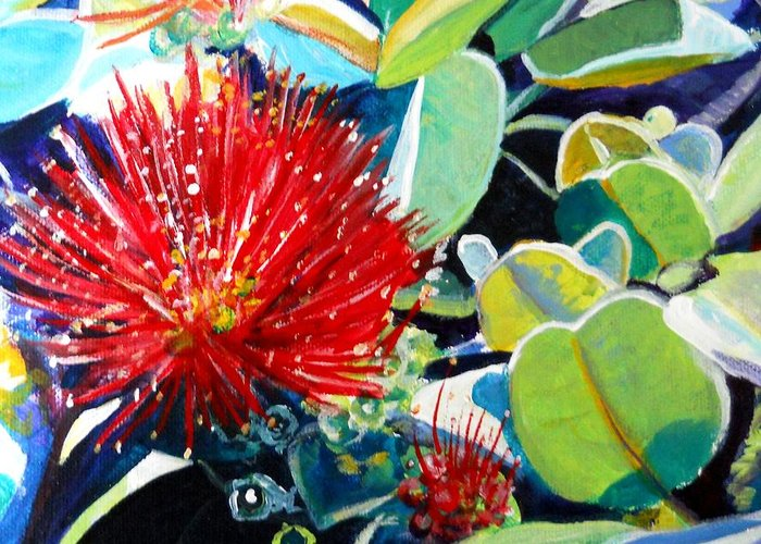 Hawaiian Flower Greeting Card featuring the painting Red Ohia Lehua Flower by Marionette Taboniar