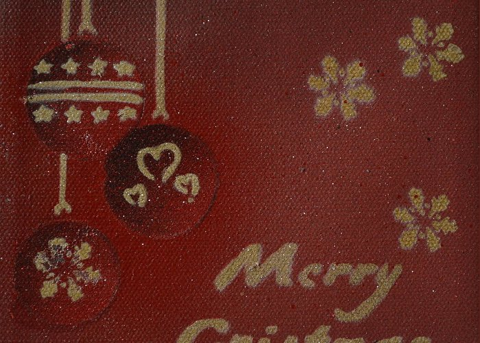 Christmas Greeting Card featuring the painting Red Ornaments by Laura Toth
