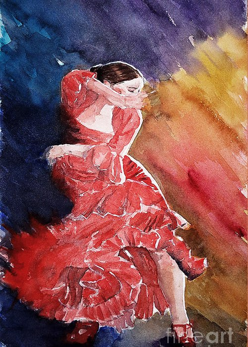 Portrait Greeting Card featuring the painting Red Passion by Marisa Gabetta