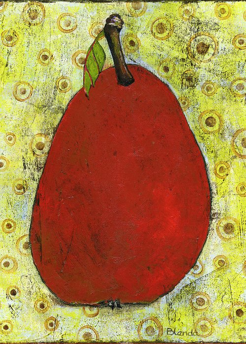 Food Greeting Card featuring the painting Red Pear Circle Pattern Art by Blenda Studio