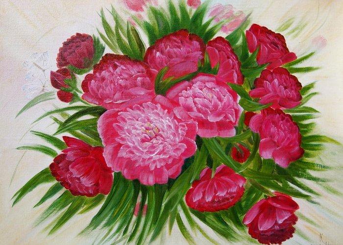 Flowers Greeting Card featuring the painting Red Peonies by Natalia Kazachenok