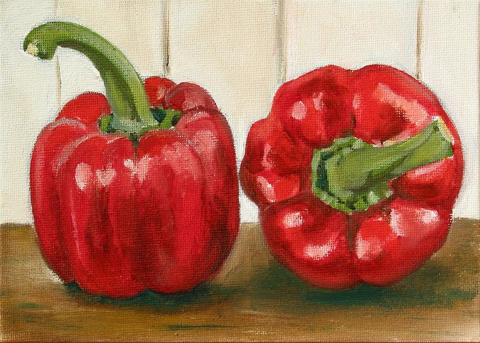 Food Greeting Card featuring the painting Red Pepper by Sarah Lynch