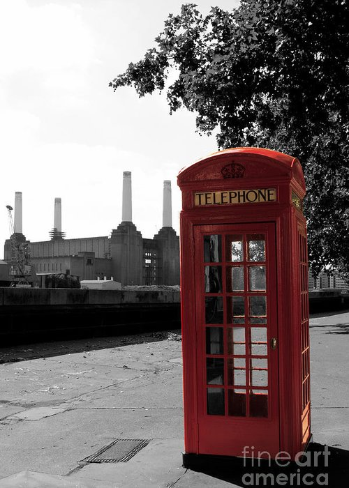 Colour Greeting Card featuring the photograph Battersea Power Station And The Red Phone Box by Philip Pound