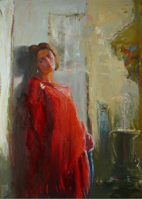 Red Poncho Greeting Card featuring the painting Red Poncho by Irena Jablonski