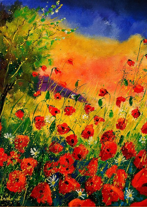 Poppies Greeting Card featuring the painting Red Poppies 45 by Pol Ledent