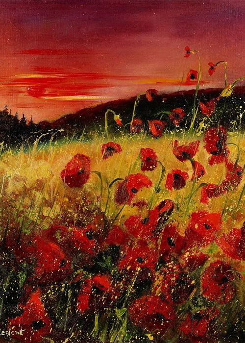 Poppies Greeting Card featuring the painting Red Poppies And Sunset by Pol Ledent