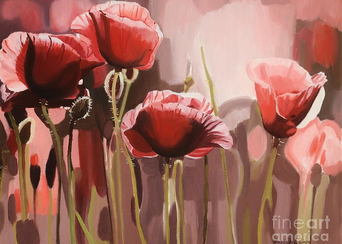 Flower Greeting Card featuring the painting Red Poppies by Annette Cohen