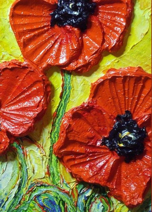 Red Poppy Painting Greeting Card featuring the painting Red Poppies II by Paris Wyatt Llanso