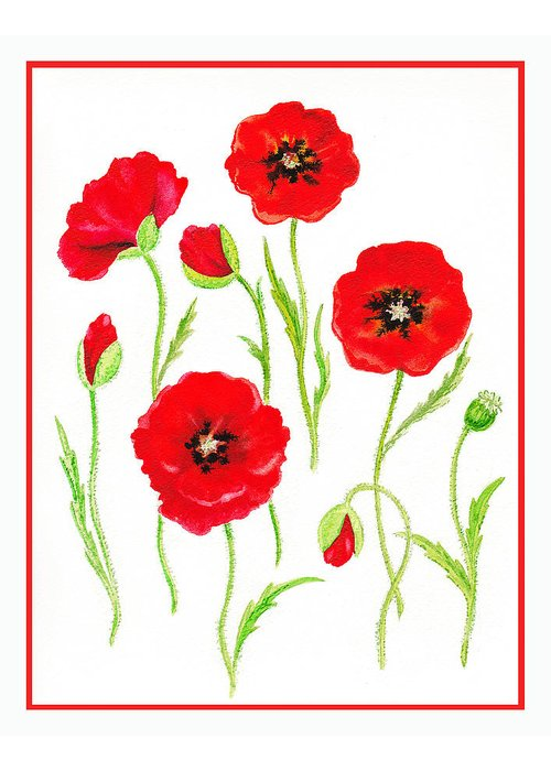 Poppies Greeting Card featuring the painting Red Poppies by Irina Sztukowski