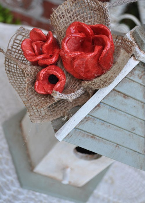 Red Greeting Card featuring the sculpture Red Poppy Inn by Amanda Sanford
