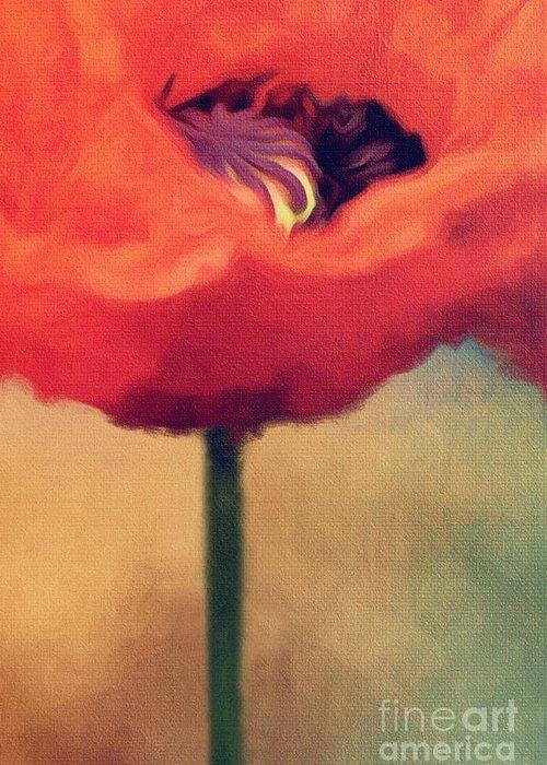 Poppy Greeting Card featuring the digital art Red Poppy by Rosie Nixon