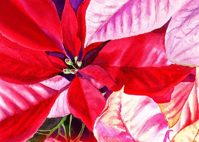 Red Greeting Card featuring the painting Red Red Christmas by Irina Sztukowski