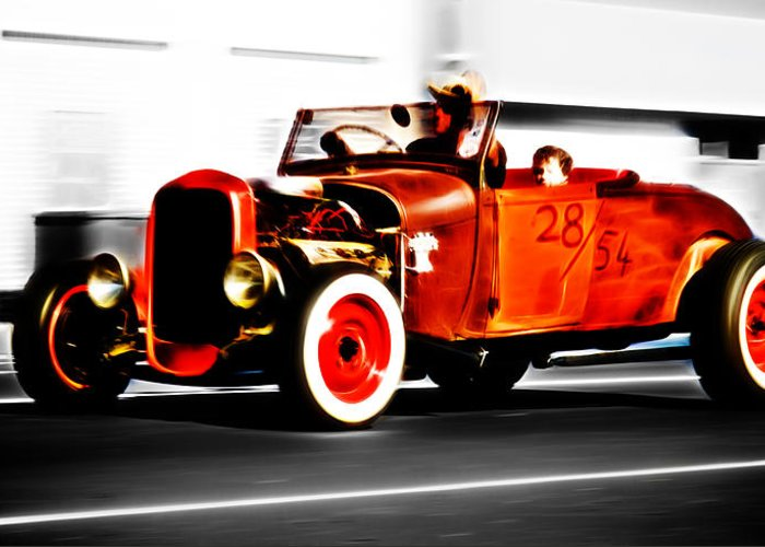 Ford Hot Rod Greeting Card featuring the photograph Red Riding Rod by Phil 'motography' Clark