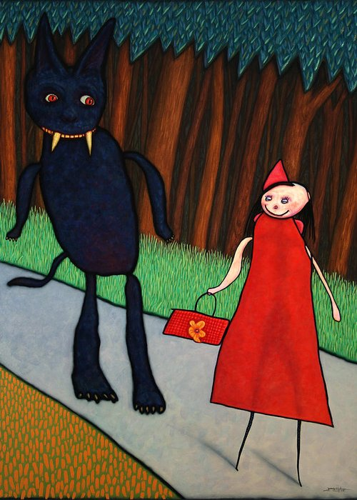 Little Red Ridinghood Greeting Card featuring the painting Red Ridinghood by James W Johnson