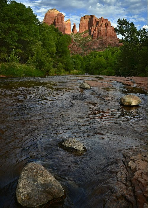 Cathedral Greeting Card featuring the photograph Red River Crossing Under Cathedral Rock by Dave Dilli