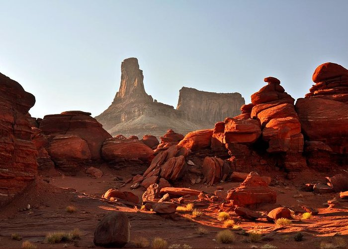 Landscape Greeting Card featuring the photograph Red Rock And Spire by Marty Koch