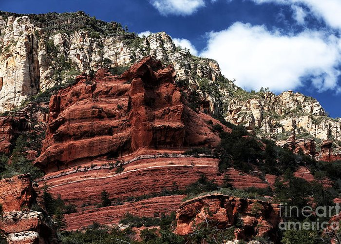 Red Rock At Oak Creek Greeting Card featuring the photograph Red Rock At Oak Creek by John Rizzuto