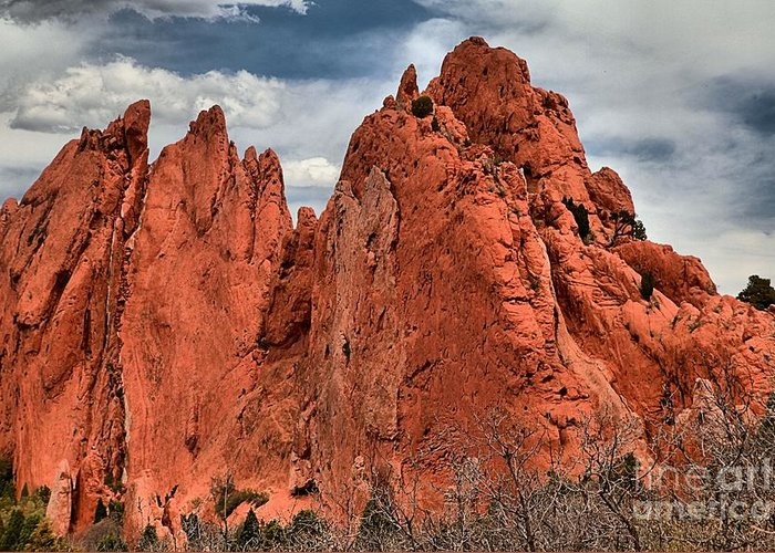Garden Of The Gods Greeting Card featuring the photograph Red Rock Cluster by Adam Jewell