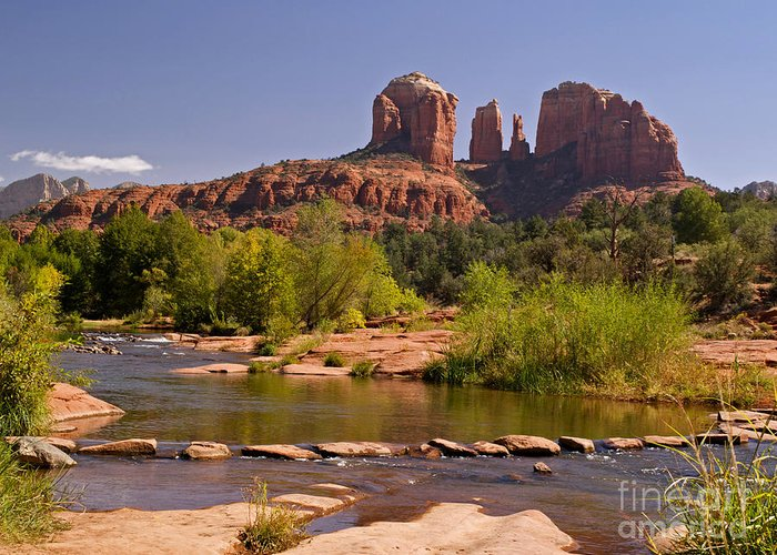 Landscape Greeting Card featuring the photograph Red Rock Crossing by Alex Cassels