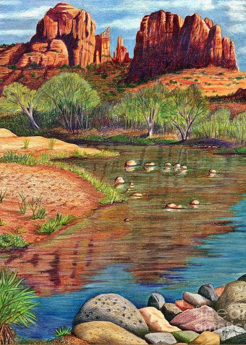 Red Rock Crossing Drawings Greeting Cards