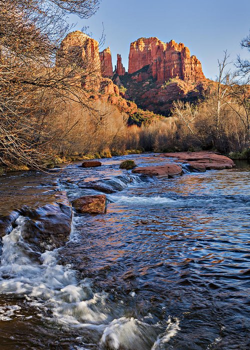 Arizona Greeting Card featuring the photograph Red Rock Crossing Winter by Mary Jo Allen