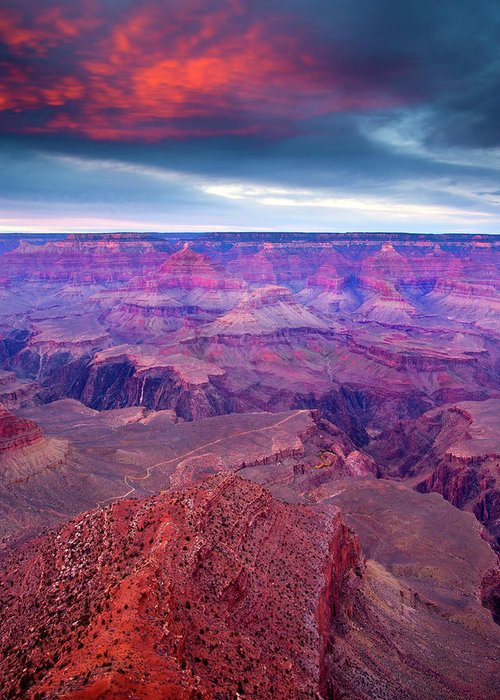 Grand Canyon Greeting Card featuring the photograph Red Rock Dusk by Mike Dawson