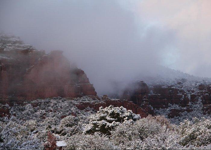 Scenics Greeting Card featuring the photograph Red Rock Fog Snow Sedona Arizona by Sassy1902