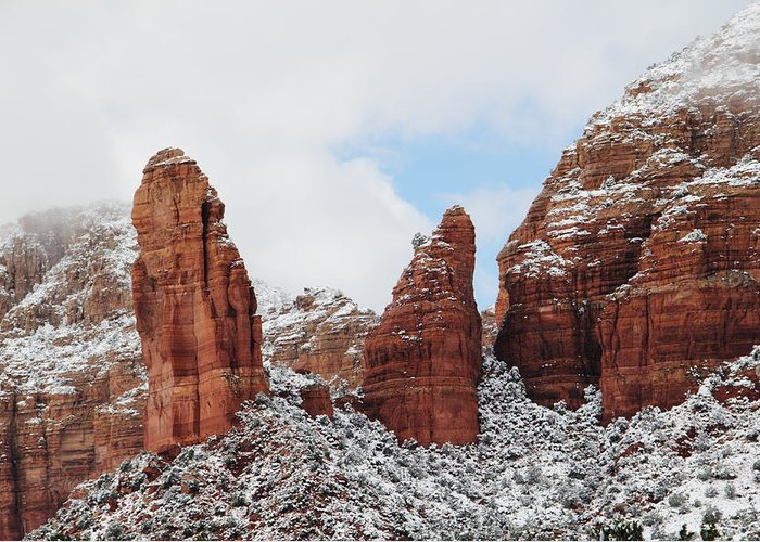 Scenics Greeting Card featuring the photograph Red Rock Snow Sedona by Sassy1902