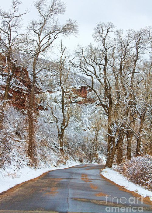 Winter Greeting Card featuring the photograph Red Rock Winter Road Portrait by James BO Insogna